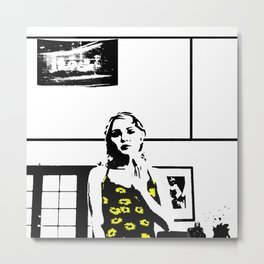 Sunflower Girl Metal Print