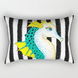 Seahorse Teal Black Stripes Rectangular Pillow