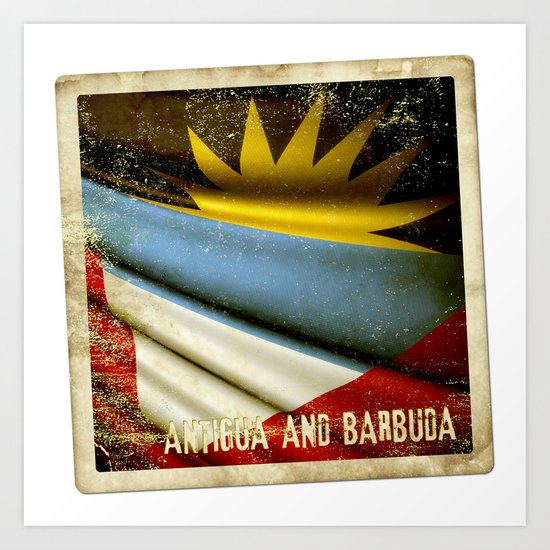 Grunge sticker of Antigua and Barbuda flag Art Print