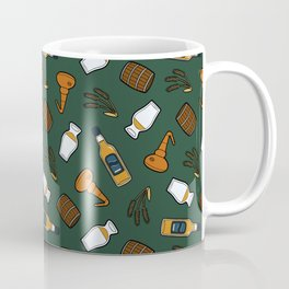 Whisky Pattern in Dark Green Coffee Mug