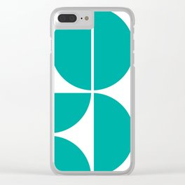 Mid Century Modern Turquoise Square Clear iPhone Case