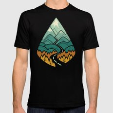 The Road Goes Ever On: Autumn Mens Fitted Tee Black LARGE