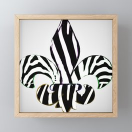 Black and White Zebra Stripe Fleur De Lis Framed Mini Art Print