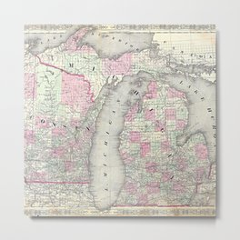 Michigan and Wisconsin map print from 1863 Metal Print