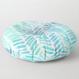 Handpainted Chevron pattern - light green and aqua - stripes Floor Pillow