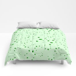 A lot of green drops and petals on a grassy background in mother of pearl. Comforters