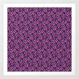 Fun Pattern: Hoops And Loops In Living Coral, Magenta And Cyan Art Print