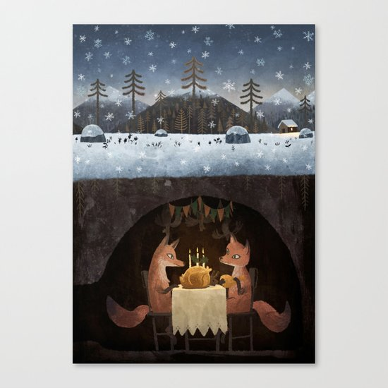 Winter Foxes Canvas Print