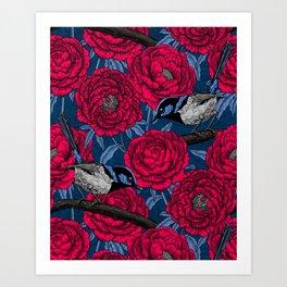 Wrens in the peonies Art Print