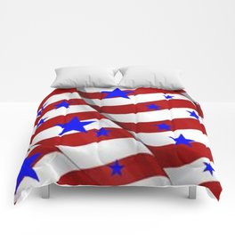 PATRIOTIC JULY 4TH BLUE STARS DECORATIVE ART Comforters