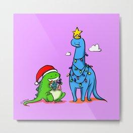 Dinosaurs - Christmas Tree Santa Metal Print