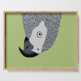 African Grey Parrot [ON SPRING GREEN] Serving Tray