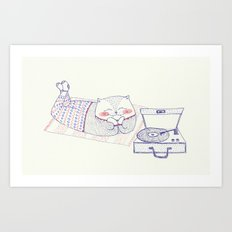 vinyl cat Art Print