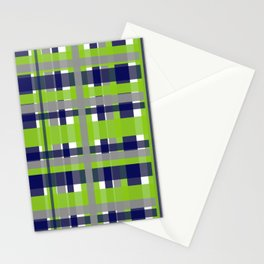 Retro Modern Plaid Pattern 2 in Lime Green, Bright Navy Blue, Gray, and White Stationery Cards
