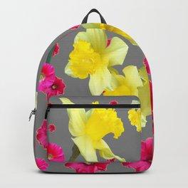 FUCHSIA FLOWERS & YELLOW DAFFODILS DESIGN Backpack