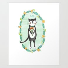 Tuxedo Cat with Flowers Art Print