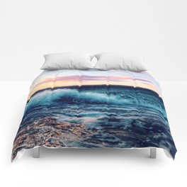 Waves Crashing At Sunset Comforters