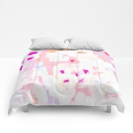 Netta - abstract painting pink pastel bright happy modern home office dorm college decor Comforters