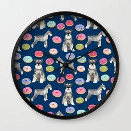 Schnauzer dog breed donuts doughnut pet art schnauzers pure breed gifts Wall Clock