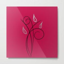 Floral Whimsy Fucsia - Digital Art  Metal Print
