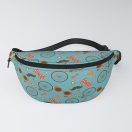 Colorful Hipster Elements Pattern on teal Fanny Pack