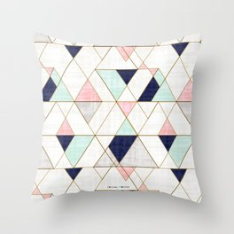 Mod Triangles - Navy Blush Mint Throw Pillow