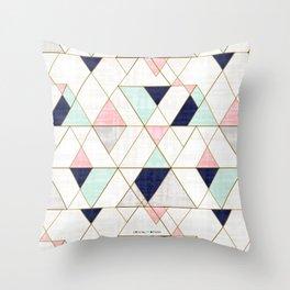 Mod Triangles - Navy Blush Mint Deko-Kissen