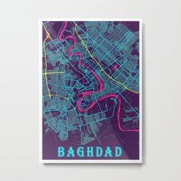 Baghdad Neon City Map, Baghdad Minimalist City Map Art Print Metal Print