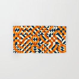 Orange Navy Color Overlay Irregular Geometric Blocks Square Quilt Pattern Hand & Bath Towel