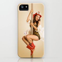 """Four-Alarm Flirt"" - The Playful Pinup - Firefighter Girl Pin-up by Maxwell H. Johnson iPhone Case"