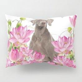 Weimaraner Lotos Flowers Pillow Sham