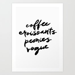 coffee croissants peonies Art Print