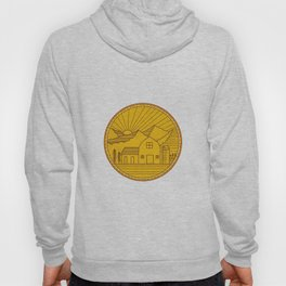 American Farm Barn House Mountain Circle Mono Line Hoody
