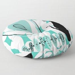 Mid-Century Modern Atomic Art - Teal - Cat Floor Pillow