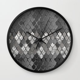 Mermaid Scales Silver Gray Glitter Glam #1 #shiny #decor #art #society6 Wall Clock