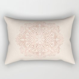 Mandala Rose Gold Pink Shimmer on Light Cream Rectangular Pillow