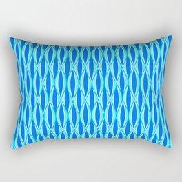 Mid-Century Ribbon Print, Shades of Blue and Aqua Rectangular Pillow