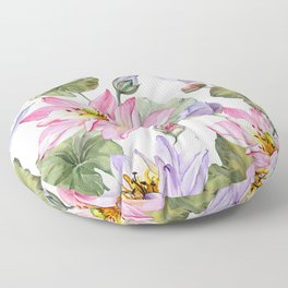 Large pink and purple lotus flowers with leaves on white background Floor Pillow