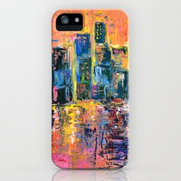 Pink Sky - abstract painting New York city skyline at sunset impressionism acrylic iPhone Case