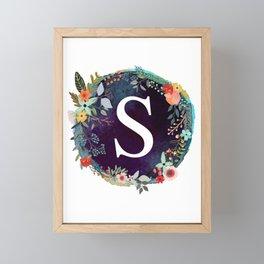 Personalized Monogram Initial Letter S Floral Wreath Artwork Framed Mini Art Print