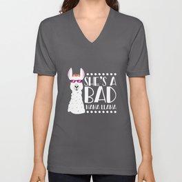 Alpaca Fan Design Funny She's A Bad Mama Llama Unisex V-Neck