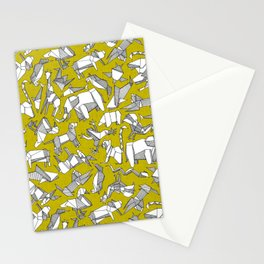 origami animal ditsy chartreuse Stationery Cards