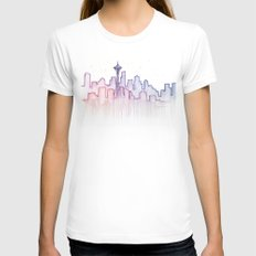Seattle Skyline Watercolor MEDIUM White Womens Fitted Tee