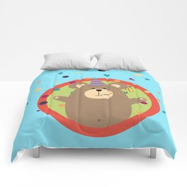 Party Bear with Spots in cirlce Comforters