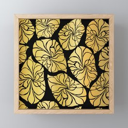 Shiny Gold Leaves Framed Mini Art Print