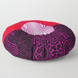 Red, white, black - and lilac ... Floor Pillow