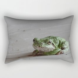 Smirking Grey Tree Frog Rectangular Pillow
