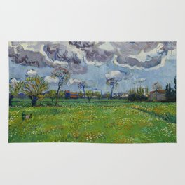 Meadow With Flowers Under a Stormy Sky Rug