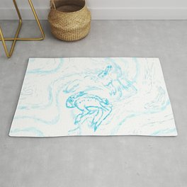 Snow Hare Dance in Blue Rug