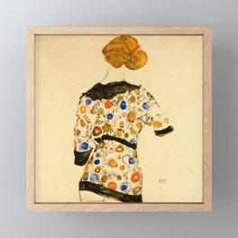 "Egon Schiele ""Standing Woman in a Patterned Blouse"" Framed Mini Art Print"